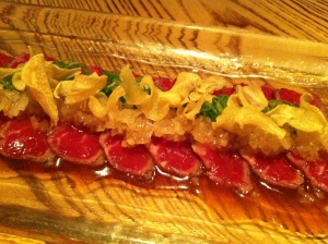 Beef tataki, ponzu and garlic chips, Nobu