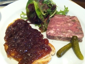 Chicken liver terrine, onion jam, pickle, PM24