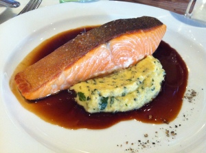 Grilled salmon, spinach mashed potato, red wine jus, PM24